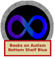 """A circular stamp with a blue infinity swirl inside. The label attached says """"Books on Autism, Bottom Shelf Blue"""""""