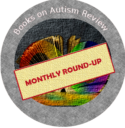The Books on Autism review badge with a beige and red stamp across the front with the text 'Monthly Round-up'