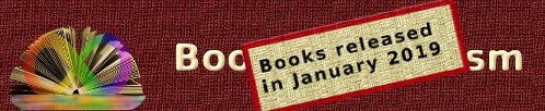 A picture of the books on autism banner with a beige and red label over it at a skew, the label says 'Books released in January 2019'
