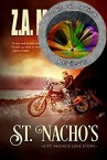 The cover of St. Nacho's is a stereotypical American desert highway (a long stretch of straight highway with hills visible in the distance) beside a body of water. A man wearing sunglasses and a black leather jacket, blue jeans and brown boots is centred on the cover riding a motorbike. The entire cover is tinted with a sepia style (dusty orange tint that is often used to make images appear older or old-fashioned).