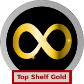 "A silver and black logo with a Gold, sparkling neurodiversity infinity loop. The label says ""Top Shelf Gold"""