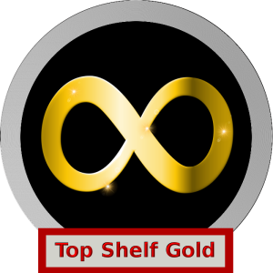 """A silver and black logo with a Gold, sparkling neurodiversity infinity loop. The label says """"Top Shelf Gold"""""""